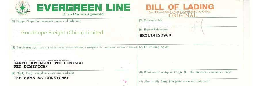 shipping bill of lading template