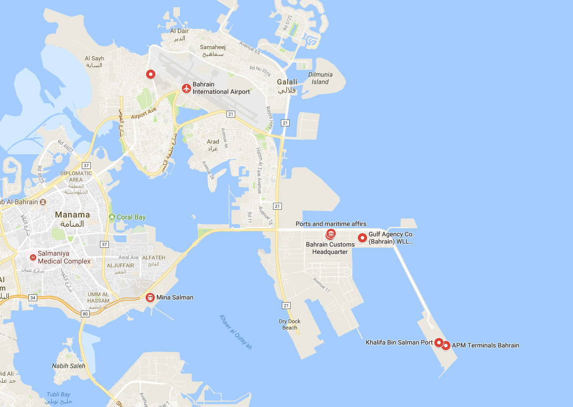 Ports Of Bahrain Container Terminal Ports In Bahrain Map